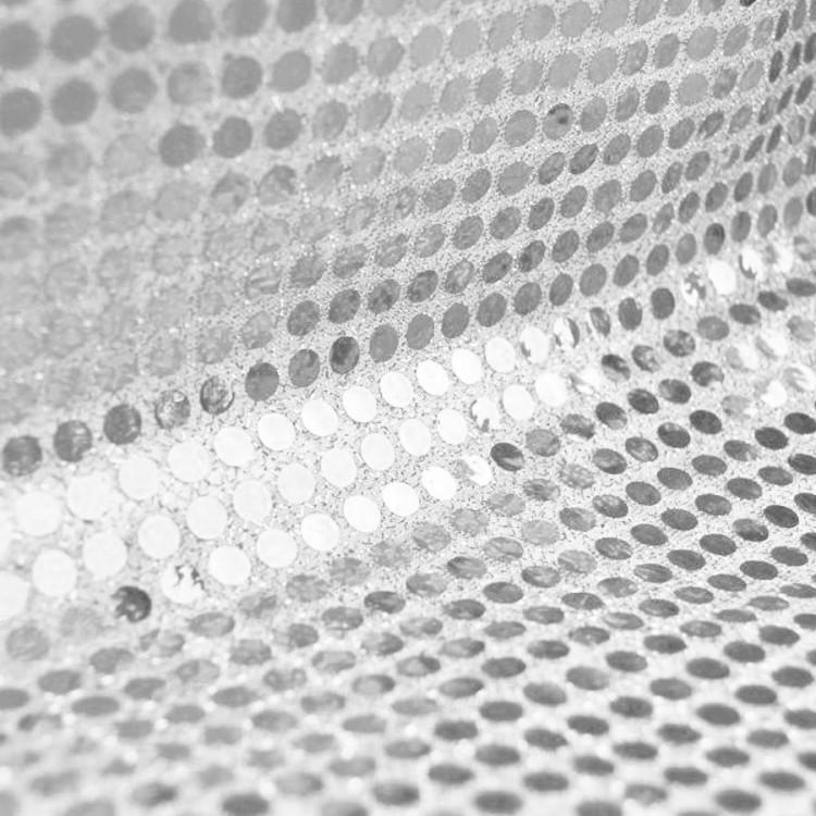 Tela lentejuelas color plata por rollo