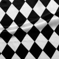Raso estampado carnaval arlequin blanco y negro