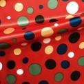 Raso estampado carnaval topos multicolores