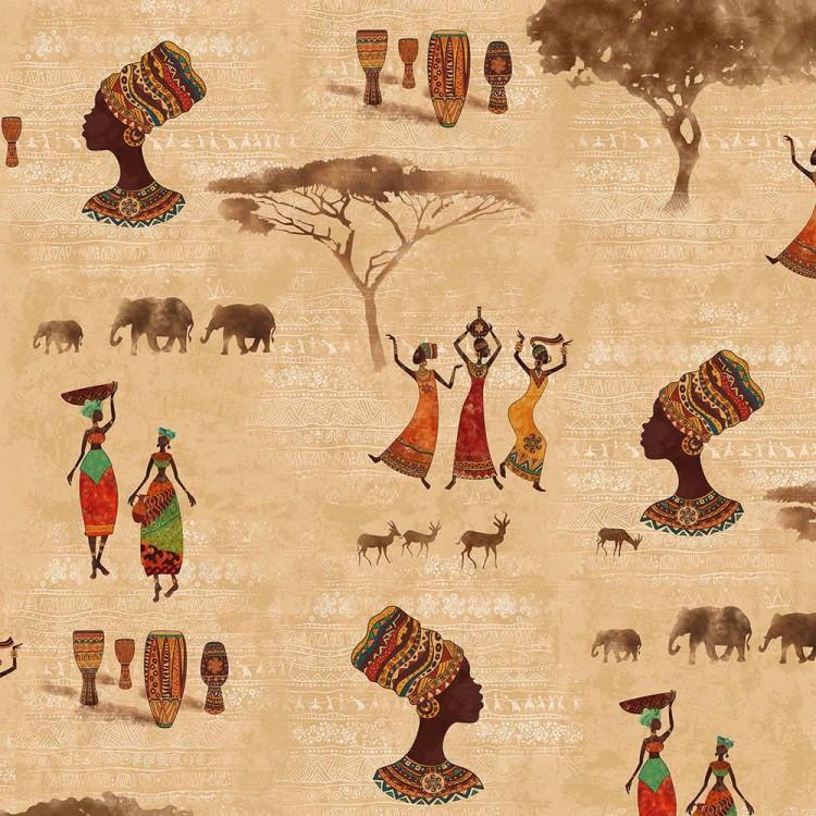 Algodón estampado mujer africana