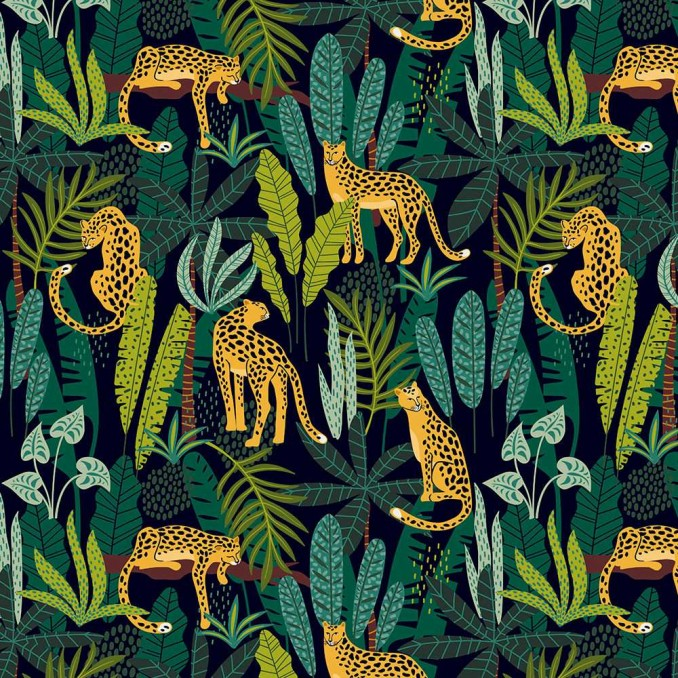 Algodón estampado pantera tropical