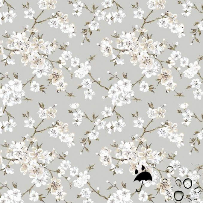 Tela resinada anti-manchas flor japon