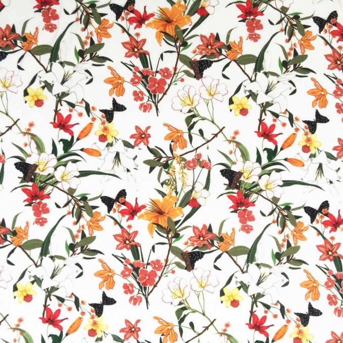 Algodón estampado flor tropical