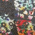 Velo bordado con telas multicolores