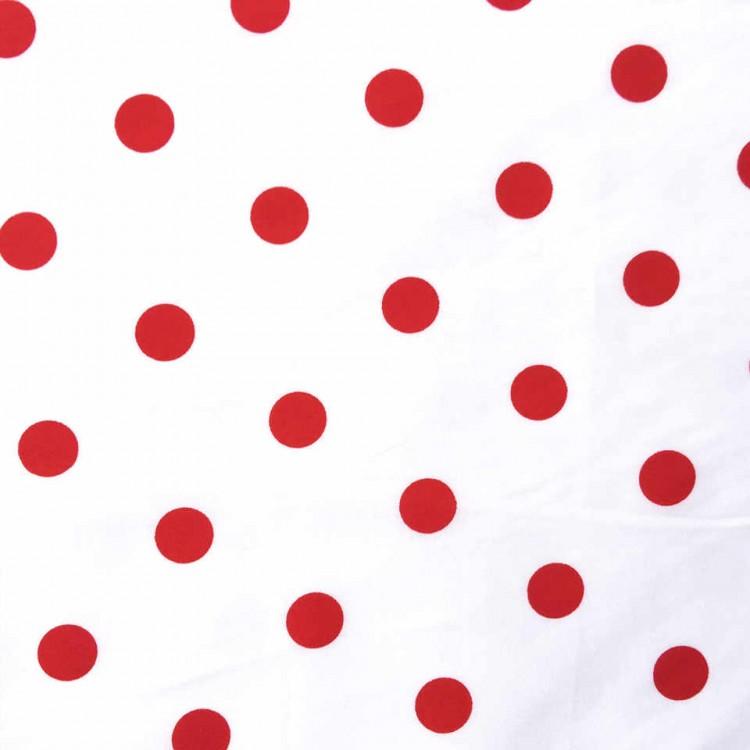 Algodón Lunares rojo / fondo blanco