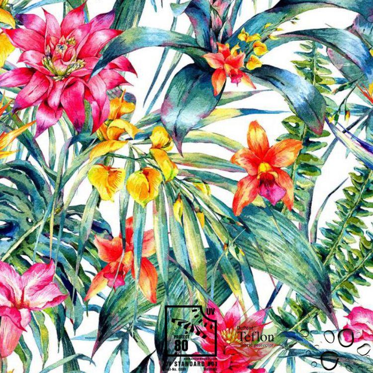 Tela exterior estampada flores ideal para terrazas y - Lona para exterior ...