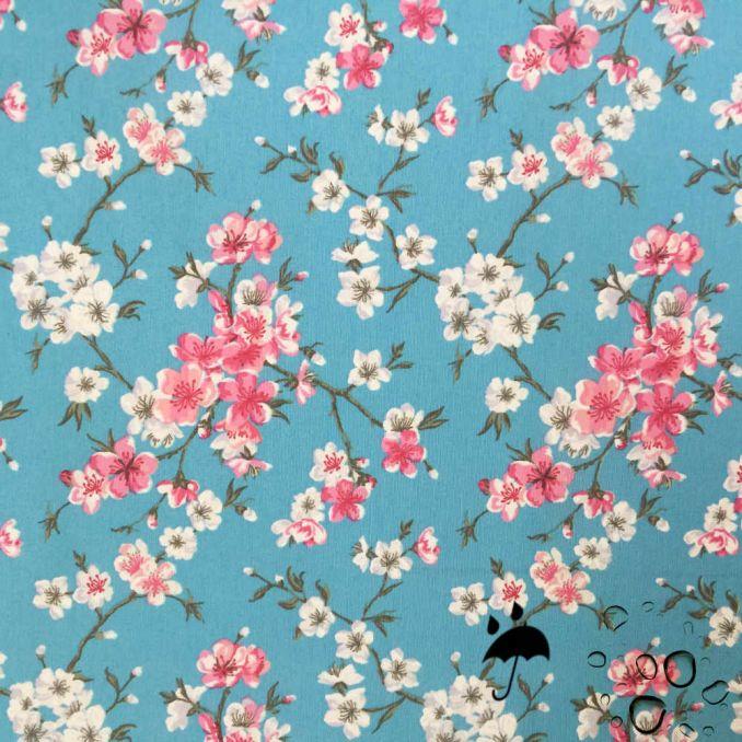 Tela resinada anti-manchas flor japon fondo azul