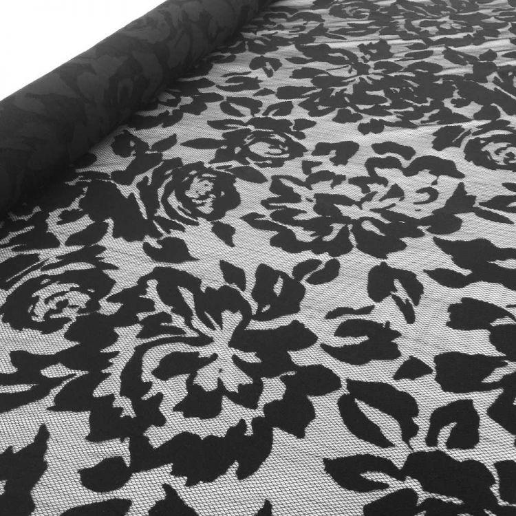 Encaje flor gigante negro