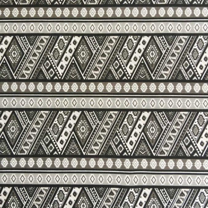 Algodón estampado azteca negro