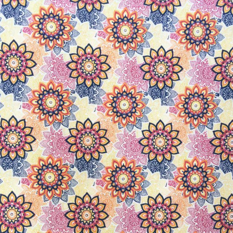 Algodón estampado flor mandala multicolor