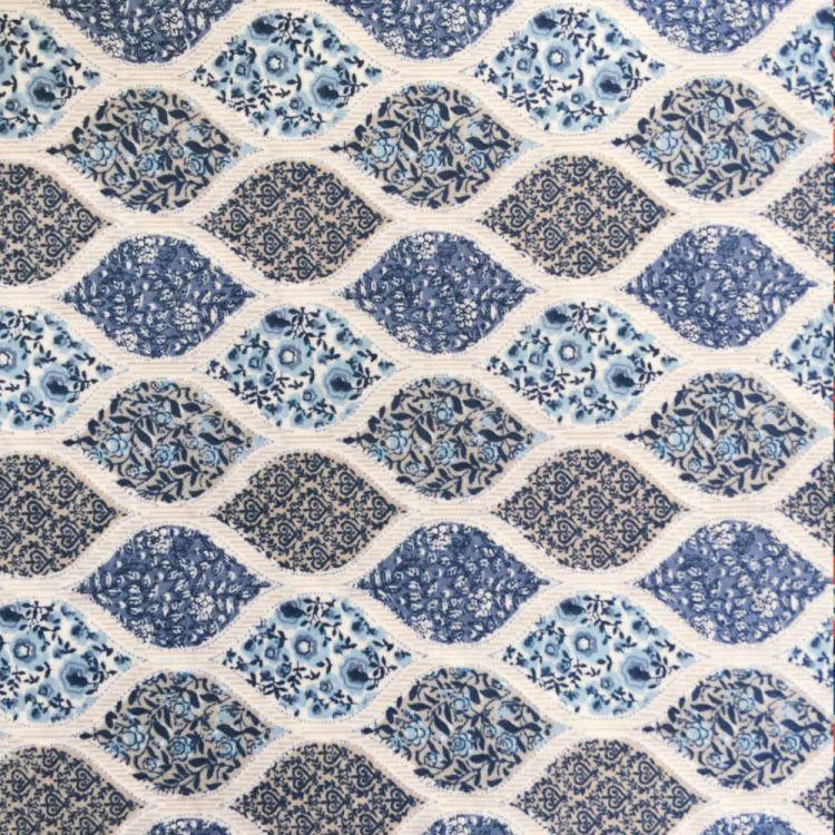 Algodón estampado geometria floral azul