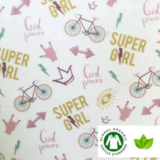 Algodón ECO estampado SUPER GIRL