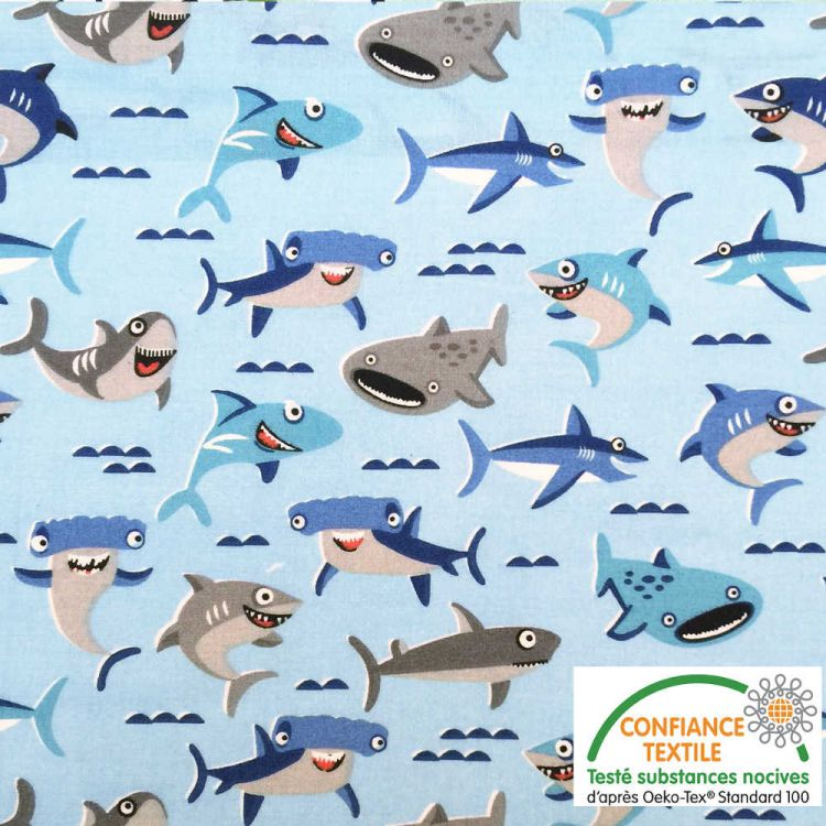 Algodón estampado Tiburones