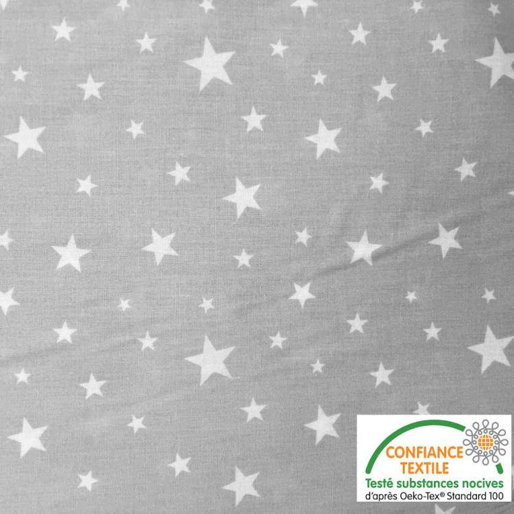 Algodón estampado Estrellas fondo gris