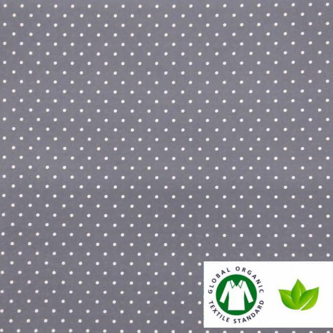 Algodón ECO estampado topos GRIS/AZUL
