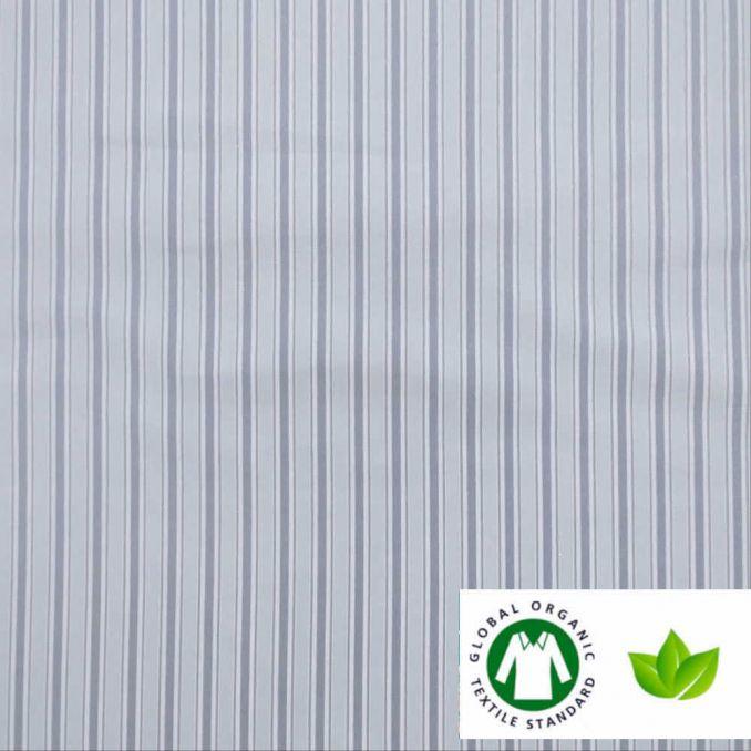 Algodón ECO estampado rayas GRIS/AZUL