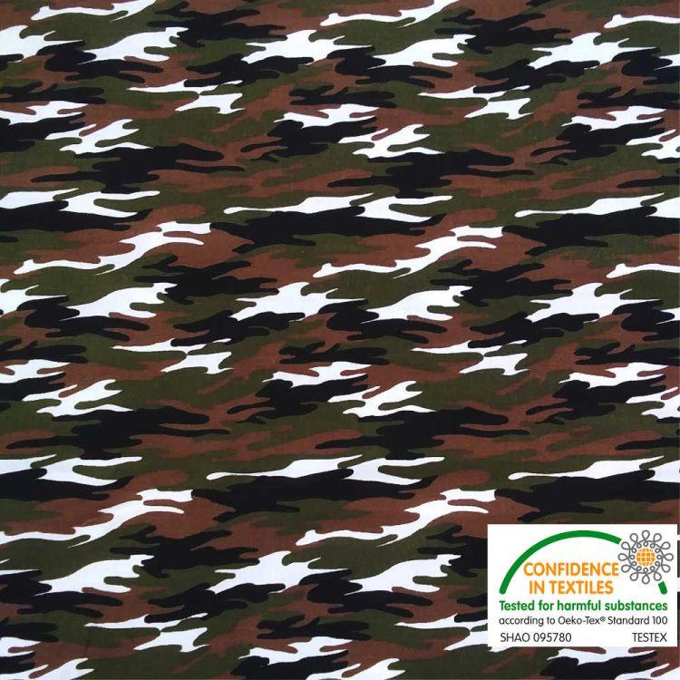 Algodón estampado camuflaje verde