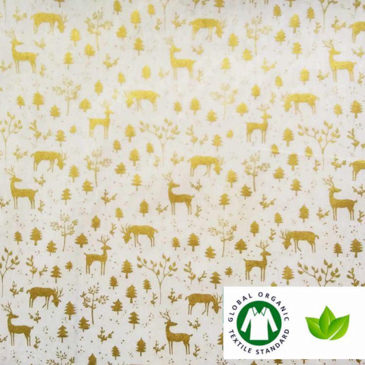 Algodón ECO navidad renos dorados