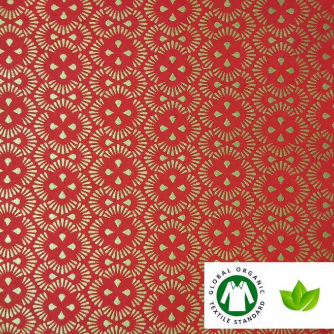 Algodón ECO NAVIDAD geometric rojo