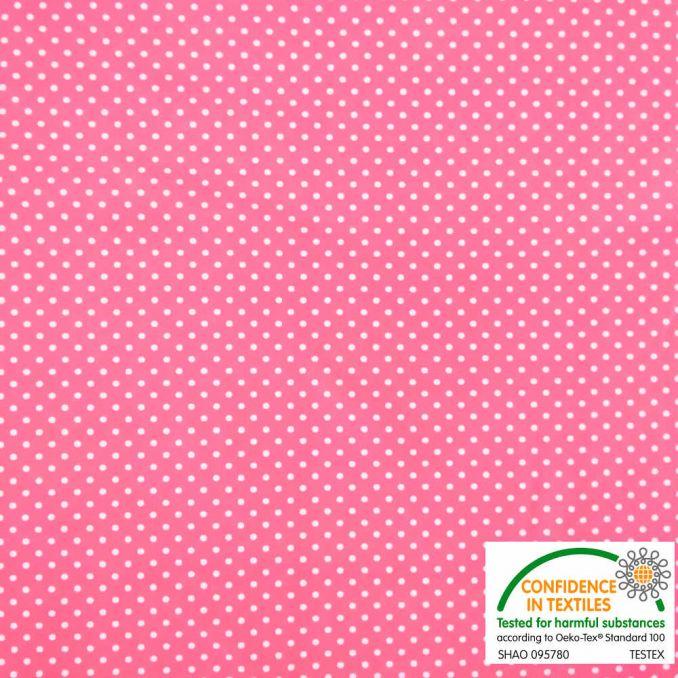 Lycra estampada TOPOS fondo rosa fluor