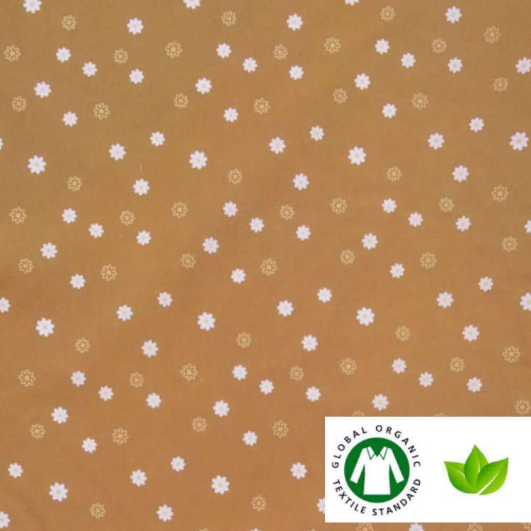 Algodón ECO estampado florecita MOSTAZA